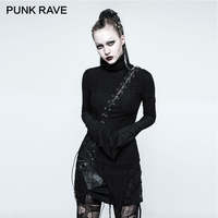 PUNK RAVE Gothic Asymmetric Cotton Stand Collar Vintage Micro Breaks Stitching Seam Women T Shirt Black
