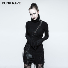 PUNK RAVE Gothic Asymmetric Cotton Stand Collar Vintage Micro-Breaks Stitching Seam Women T-shirt Black Bandage Slim Tops Rock princess seam asymmetric peplum top
