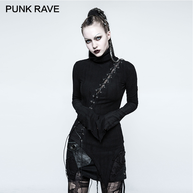 PUNK RAVE Gothic Asymmetric Cotton Stand Collar Vintage Micro-Breaks Stitching Seam Women T-shirt Black Bandage Slim Tops Rock