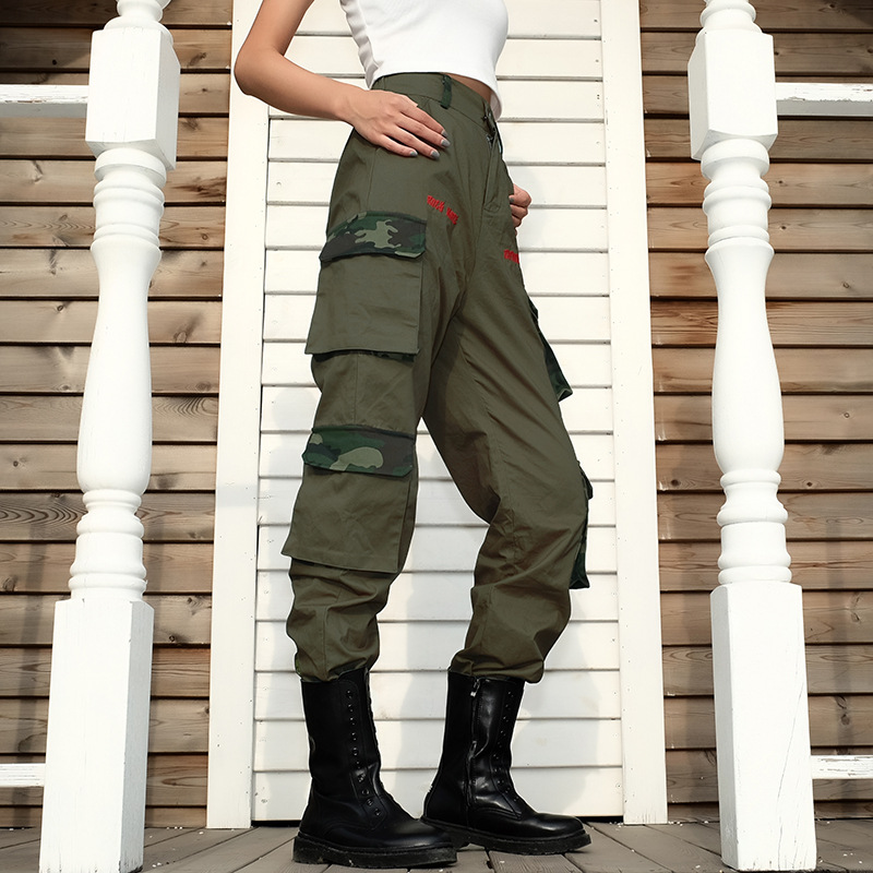 Army Green Cargo   Pants   Women Elastic High Waist   Pants     Capri   Patchwork Camo Ladies Trousers Embroidery Tie Up Joggers