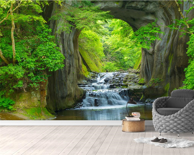 3d Wallpaper For Living Room Wall Beibehang Custom Wallpaper Hd Water Forest Background Wall