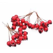 50 adet 10mm yapay çiçekler Stamens kırmızı meyveler kiraz sahte pürüzsüz köpük meyve düğün noel dekorasyon için