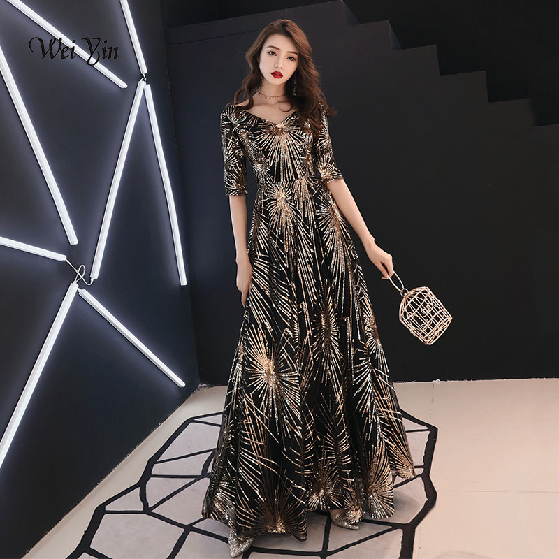 weiyin Luxury Long Sequin   Evening     Dress   Black A Line V Neck Cheap   Evening   Gowns Half Sleeves Prom Party Formal   Dresses   WY942