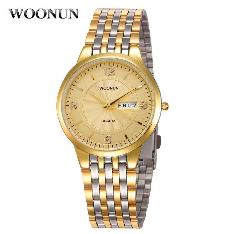 WOONUN Luxury Business Watches Men Gold Watches Ultra Thin Date Day Quartz Watch Full Steel Wristwatch Waterproof Shockproof