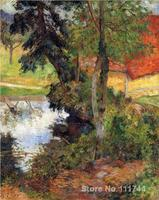 Landscape Painting Red Roof By The Water Paul Gauguin Art Oil On Canvas Handmade High Quality