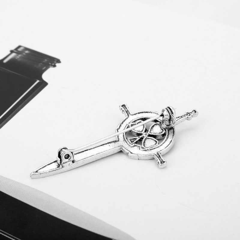 Dongsheng Baru Outlander Perak Thistle Celtic Simpul Kilt Pin Bros Bunga Bros Wanita Jewelry-40 Thistle Skotlandia Nasional