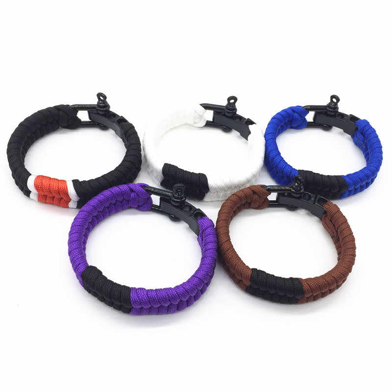Hitam Adjustable Shackle Brasil Jiu-jitsu Fishtail Menenun Gelang Survival Fashion Belt Rank Paracord Gelang