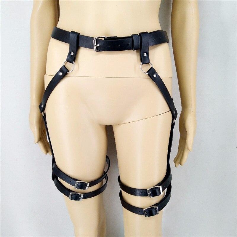 Кожаное нижнее белье, комплект из 2 предметов, подвязки, ремни, сексуальный женский пояс, бандаж для ног, клетка, ремни, бюстгальтер, подвязки, ремни для тела, нижнее белье