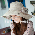 Verão aba larga Floral chapéus de sol para as mulheres Sunbonnet Chapeu chapéu de praia Floppy chapéu feminino IV-065