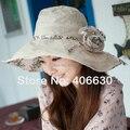 Verano de ala ancha Floral sombreros de Sun para mujeres del Sunbonnet del sombrero Chapeu Beach sombrero flojo femenino IV-065