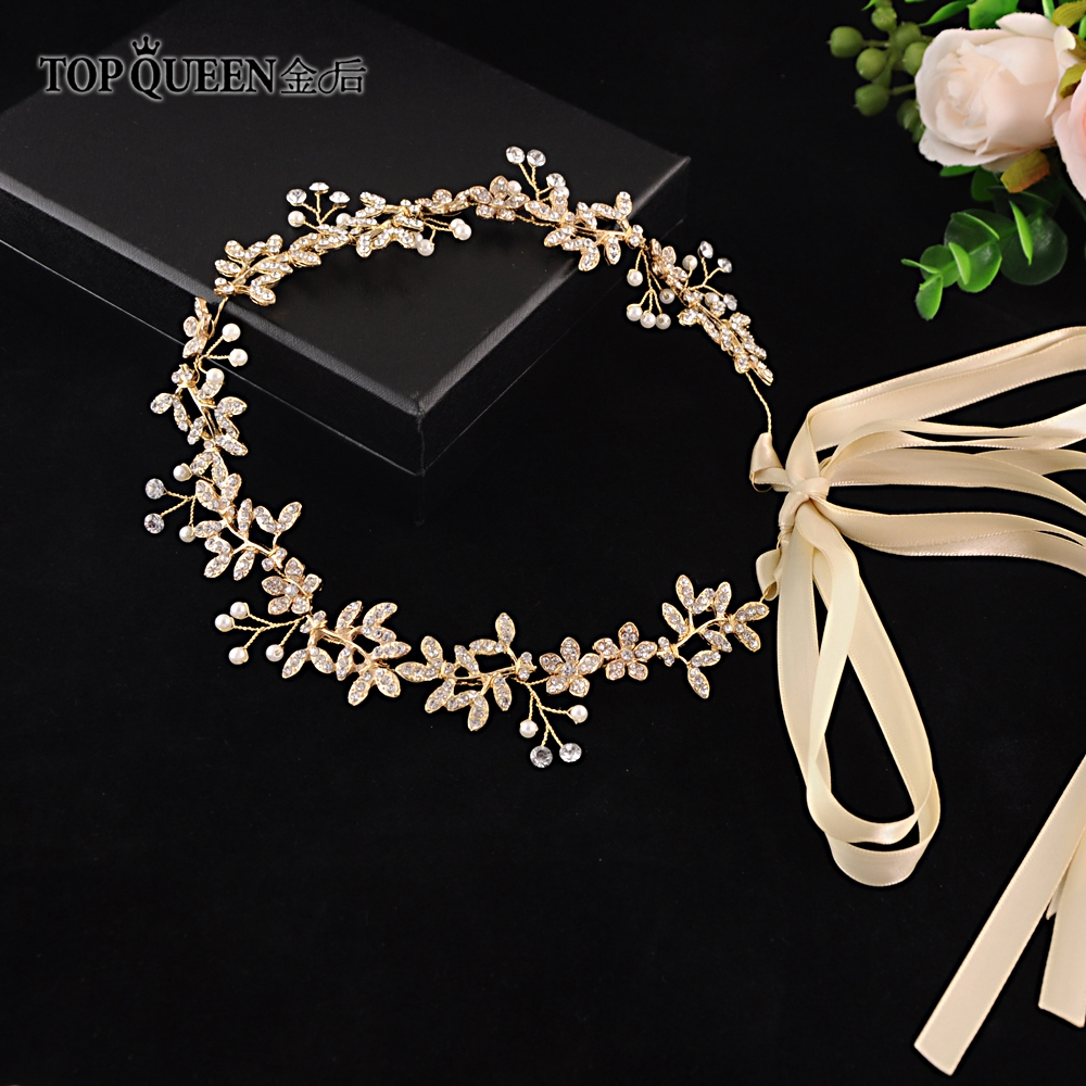TOPQUEEN HP89 Crystal &Pearl Bridal Hairpiece Pave Flower Wedding Headband Hair Band Tiara For Women Jewelry Hair Accessories