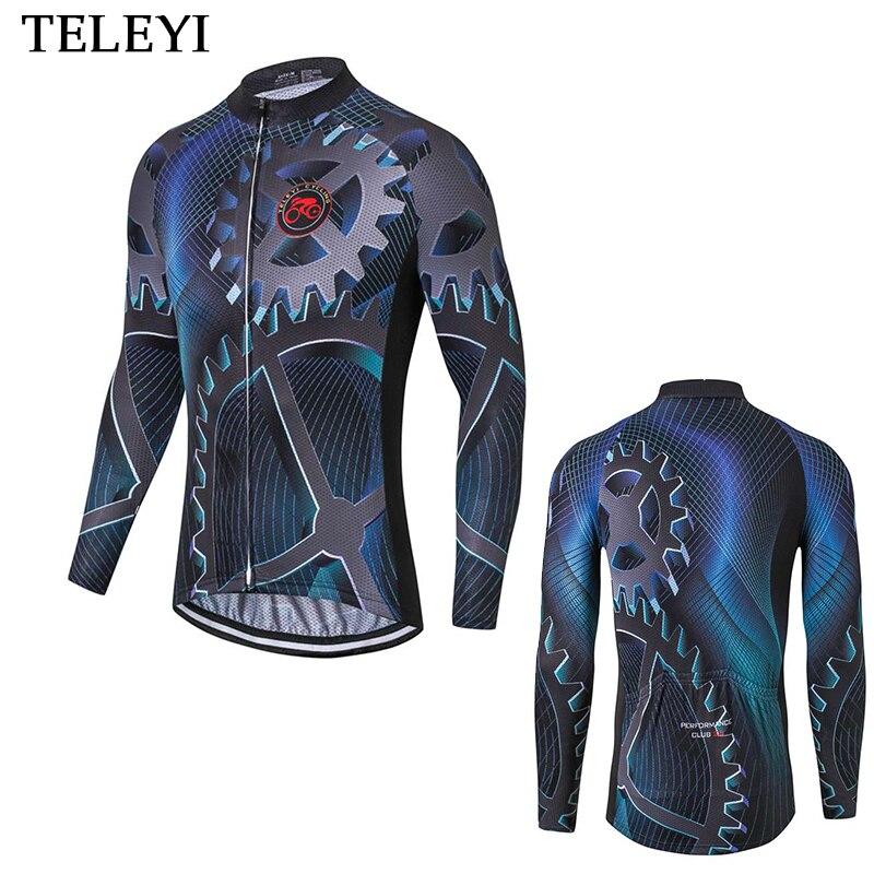 Teleyi Pro Team Шестерни Для мужчин с длинным рукавом Велоспорт Джерси MTB велосипеда Велосипедный Спорт Ropa Ciclismo дышащий MTB Джерси Велосипедная фор...