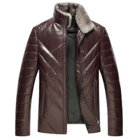Natural sheepskin leather jacket men real mink fur stand collar fashion white duck down coats outerwear plus size M 5XL
