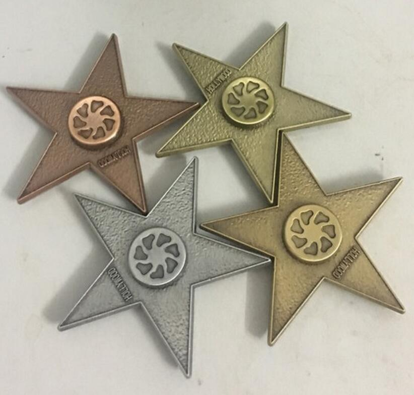 Retro Pentagon Five pointed Star Triangle Metal Fingertips Gyro Autism Fidget Spinner Alloy EDC Hand Spinner