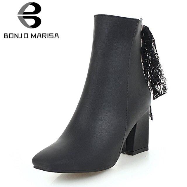 148becd9f BONJOMARISA 2019 Inverno Venda Quente Plus Size 32-48 Elegante Dedo Do Pé  Quadrado Mulheres