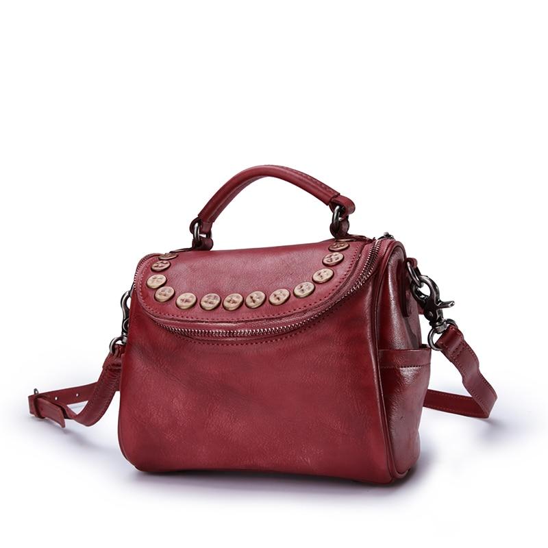все цены на Vintage Rivets Designer Women Small Mini Handbag Genuine Cow Leather Girls Studs Pillow Bag Ladies Red Purple Cross Shoulder Bag онлайн