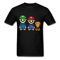 Fashion Funny Tops Tees Baby And Mario Bros Fashion Print Tops Tee Shirt Hip Hop