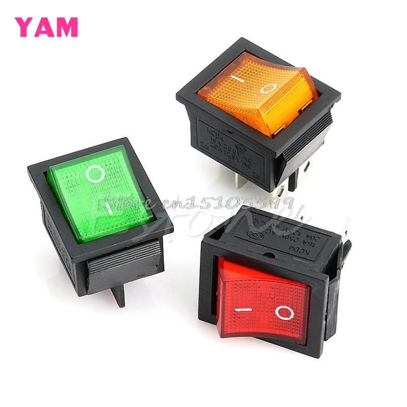 AC 250V 15A 125V 20A Red Lamp DPST DPDT 4pin 6pin ON-OFF Rocker Switch G08 Drop ship red green blue yellow button on on 6pin dpdt boat car rocker switch 16a 250v ac 20a 125v ac favorable