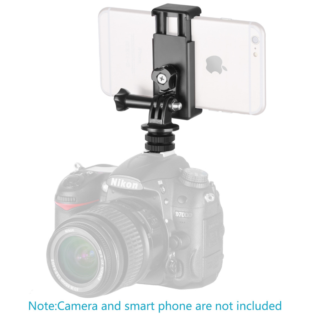 GoPro Adapter and Universal Phone Holder for Attaching Phone or GoPro Hero 6 on DSLR includes Hot Shoe Mount Neewer 3-in-1 Hot Shoe Mount Adapter Kit