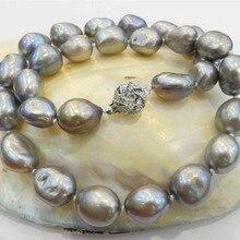 Натуральный 10-13 мм серебристо-серый барокко культивированный жемчужное ожерелье