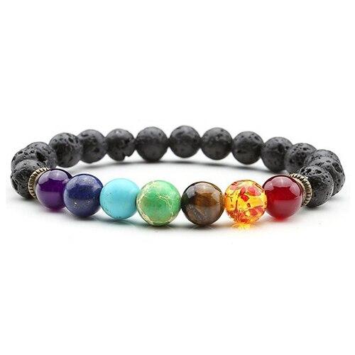 2018 New Chakra Bracelet Men Women Natural Stone Black Lava Healing Balance Beads Reiki Buddha Prayer Yoga Bracelet