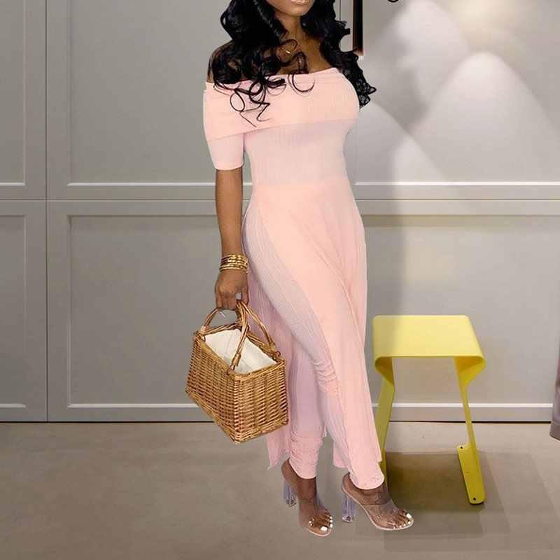 Летнее платье с милым розовым бантом пикантные Клубные в африканском стиле; элегантные женские офисные комбинезон Для женщин обтягивающие тонкие однотонные синие женский с открытыми плечами комбинезоны