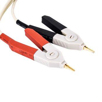 1 çift Yalıtımlı Muz Fiş Klipler Kablo Düşük Direnç LCR Klip Probu Açar Test ölçüm Cihazı Terminali Kelvin Yeni