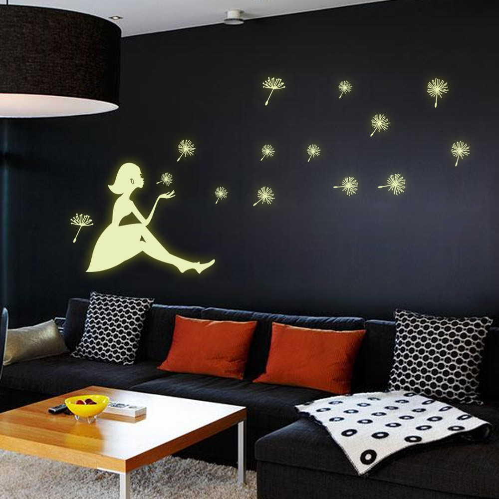 Aliexpress.com : Buy Dandelion Girl Fluorescence Noctilucent DIY Romantic  Wall Stickers Night Glow In Dark Luminous Living Room Mural Decal From  Reliable ...