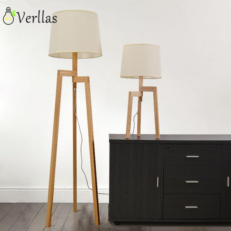 Wooden Floor Lamp Modern With Foot Switch Living Room Bedroom Study