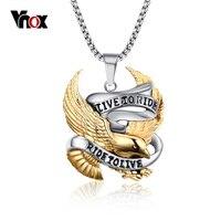 Vintage Gold Eagle Necklace Pendants Biker Amulets And Charms Men Jewelry