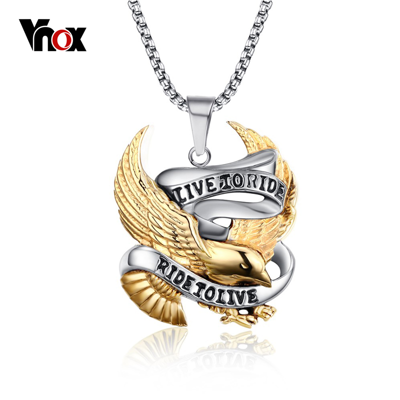 Vnox Eagle Necklace Pendant for Men Stainless Steel Metal LIVE TO RIDE Punk Jewelry punk style etched gold plated eagle moon pendant necklace for men