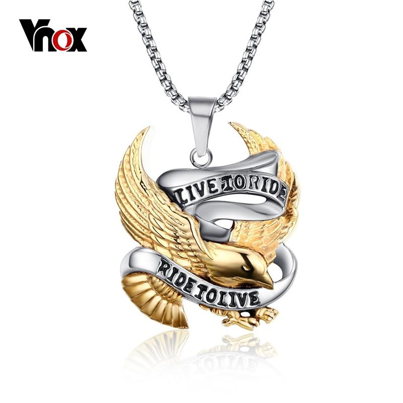 Vnox Eagle Necklace Pendant for Men Stainless Steel Metal