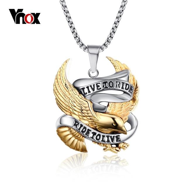 Vnox eagle necklace pendant for men stainless steel metal live to vnox eagle necklace pendant for men stainless steel metal live to ride punk jewelry aloadofball Gallery