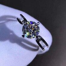925 خاتم فضة 1ct 2ct 3ct النمط الكلاسيكي مويسانيتي خاتم الماس والمجوهرات حفل زفاف الذكرى مع شهادة GRA