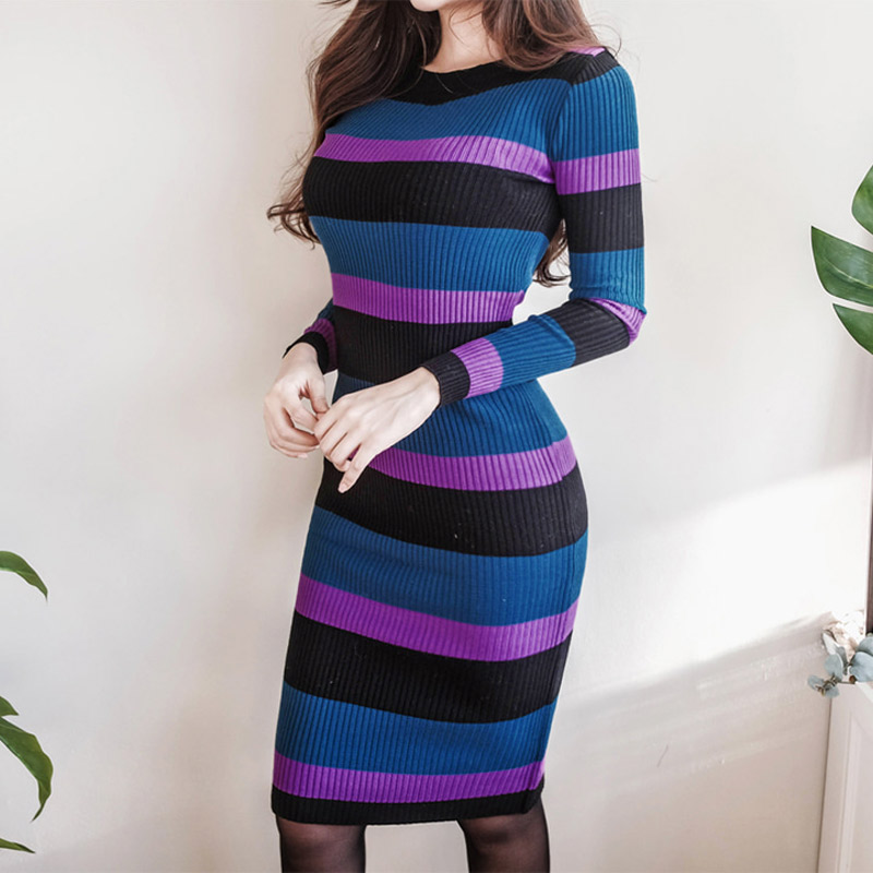 Autumn Winter Women Striped Skinny Sweater Dress O-neck Slim Bodycon Dress Elegant Mid-length Knitted Vestidos