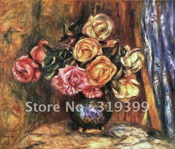 Free DHL Shipping,100% handmade,Oil Painting Reproduction on linen canvas,roses in front of a blue curtain by pierre renoir
