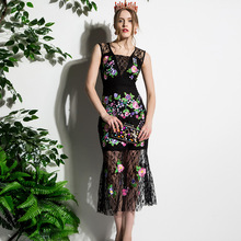 29e578f3676 High quality 2017 new designer women s summer dress Sleeveless black Lace  embroidery Trumpet Mermaid Mid - Calf dress