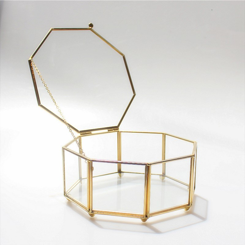 Golden Eight-sided Clamshell Jewelry Box Geometric Glass Flower Room Gold Frame Wedding