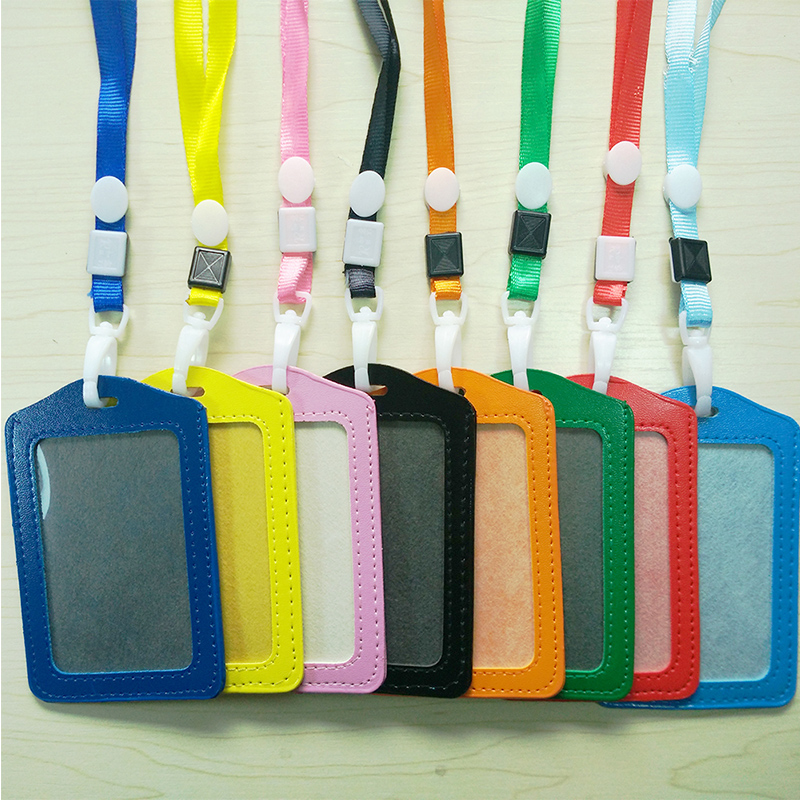 PU Leather Neck Strap Card Holder Bus ID Card Holder Candy Color Business Card Case With Lanyard Credit Card Cover