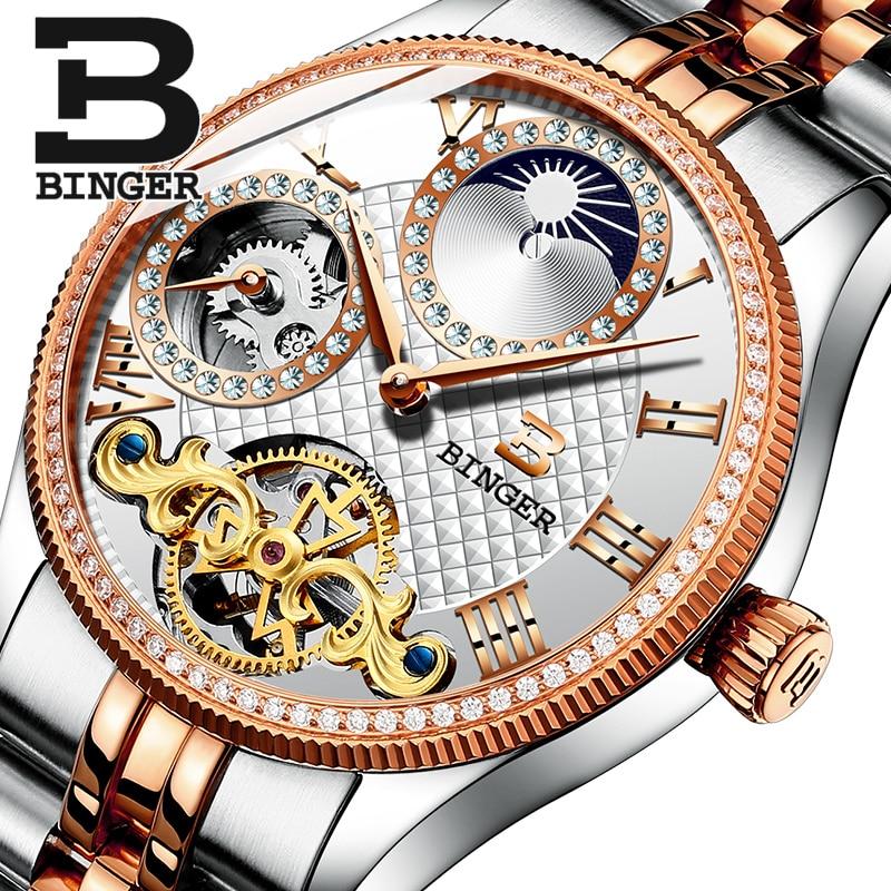 Phase de lune Automatique Montres BINGER Hommes Montre Mécanique Tourbillon Horloge relogio masculino relojes hombre 2017 En Acier