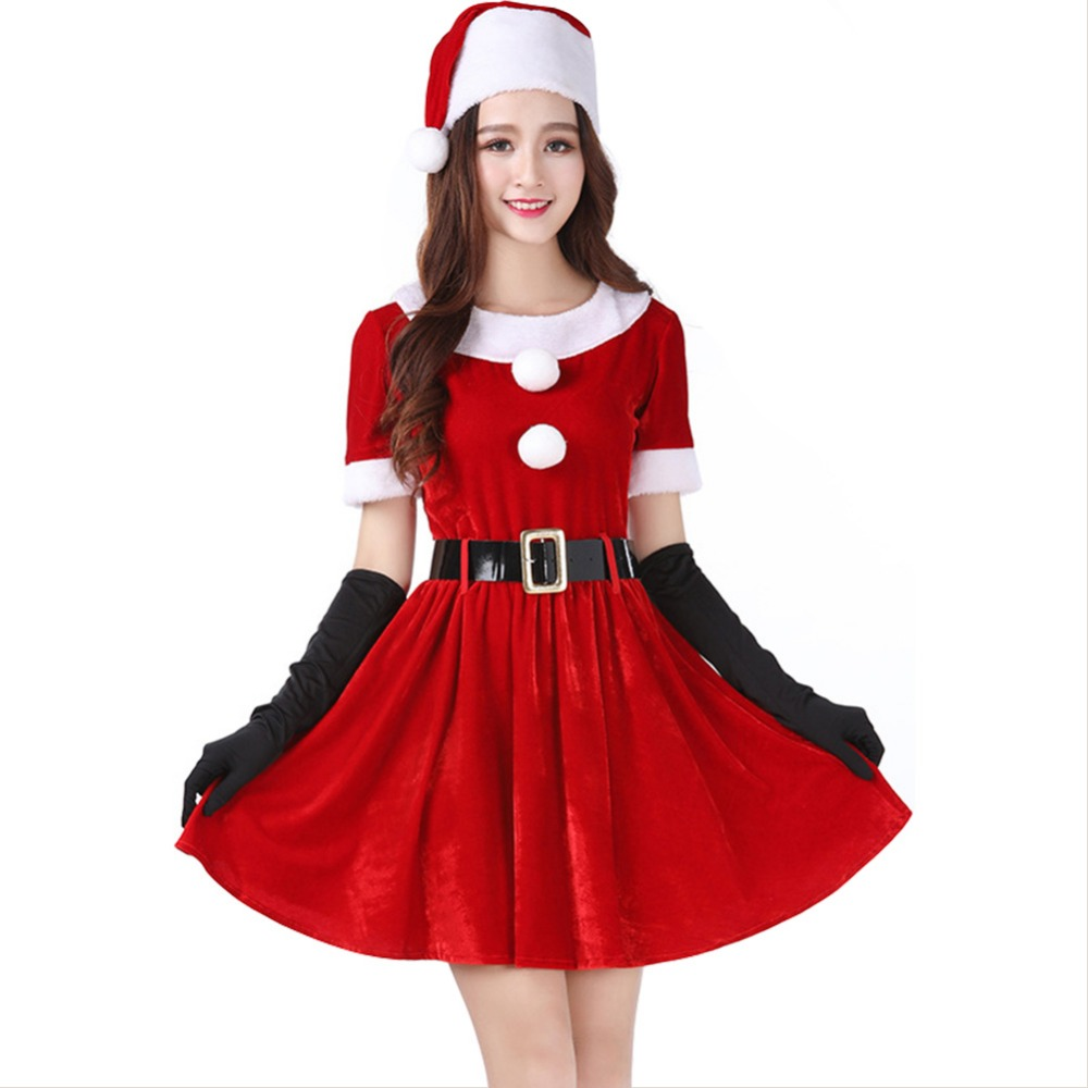 Red Christmas Dress Adult Women Clothes Santa Claus Costume Girls Velvet Clothing Dress New Arrival