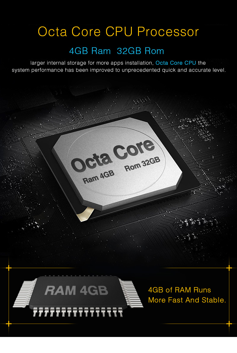 Citrouille Octa Core RAM 4G ROM 32G 2 Din 7''Android 8.0 universel autoradio Audio stéréo sans DVD GPS Navigation démarrage rapide Headunit - 3