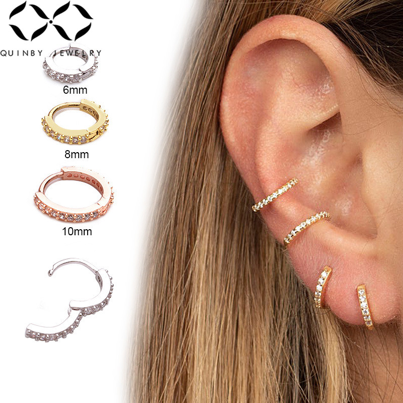 Fashion Crystal Piercing Earrings For Women Small Round Ear Cuff Rose Gold Silver Plated Rhinestone Clip Earrings Jewerly Z4