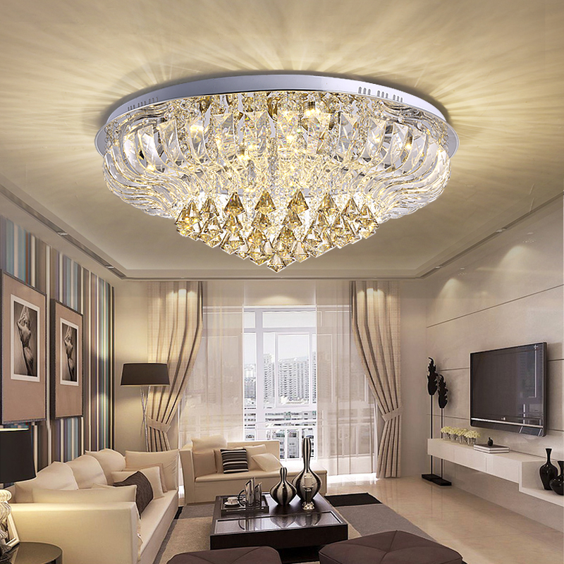 Simple and modern LED round warm living room dining hall diamond crystal lamp atmospheric luxury headlamps ceiling lamps led