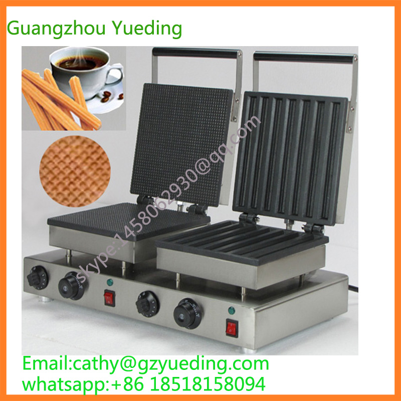 Electric waffle pancake cake maker circle and churro waffle machine churro maker stainless steel 3l churro making machine with three moulds and nozzles