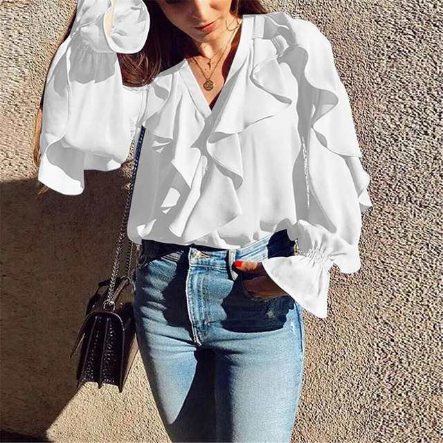 Celmia Stylish Tops Summer Ruffled Blouse Women Sexy V neck Long Sleeve Shirts Female Casual Buttons Street Blusas Plus Size 5XL 16