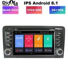 1024X600 Android 8,1 2 din Автомобильная dvd-навигационная система для Audi A3 S3 2003-2013 автомобилей радио мультимедиа aoturadio плеер с сенсорным экраном