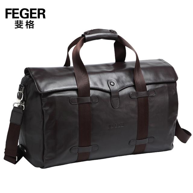 2014 Novos da marca Feger couro do couro genuíno dos homens sacos de viagem saco de viagem de alta qualidade bolsas de couro da vaca real, TCF963
