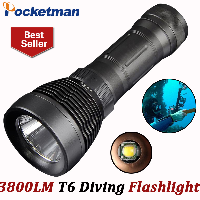 3800 Lumens Diving flashlight led diving light cree xml t6 buceo dive torch Underwater flash light lanterna by 18650 or 26650 jp a calosse goya
