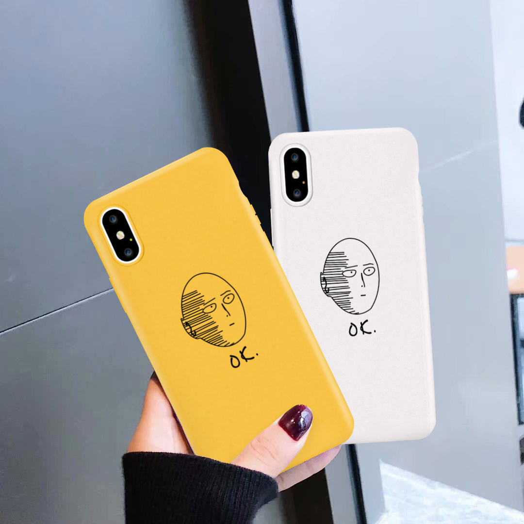 GYKZ Cartoon Anime <font><b>One</b></font> Punch Man Case <font><b>Cover</b></font> For iPhone <font><b>6</b></font> 6s XS MAX X XR 8 7 <font><b>Plus</b></font> Soft Silicone Matte <font><b>Phone</b></font> Coque For iPhone X 10 image